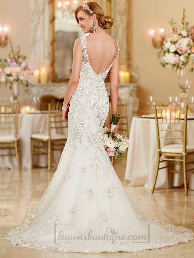 Fit and flare sweetheart lace appliques wedding dresses for Deep back wedding dress