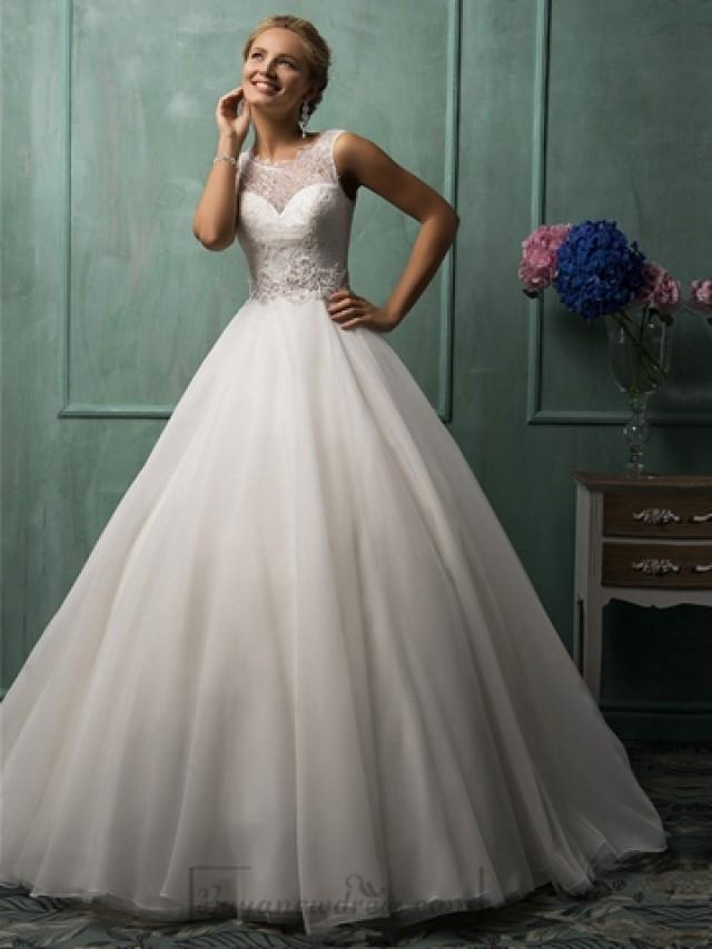 illusion neckline a line wedding dresses featured sweetheart 2443354