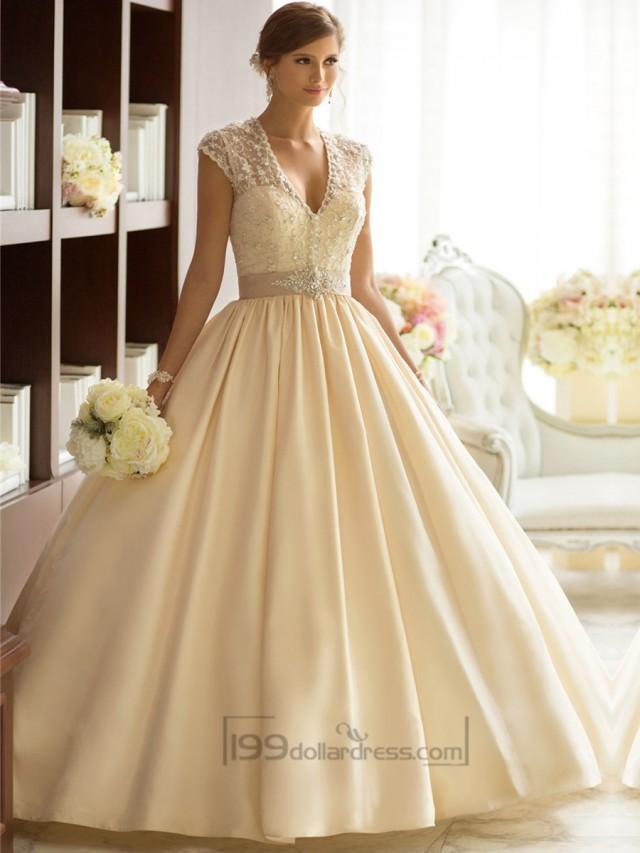 USD 3 000 Wedding Dresses : Elegant cap sleeves v neck princess ball gown wedding dresses with