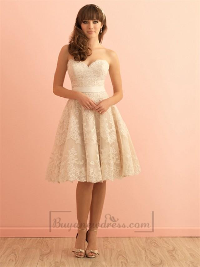 Strapless sweetheart knee length vintage lace wedding for Knee length lace wedding dress
