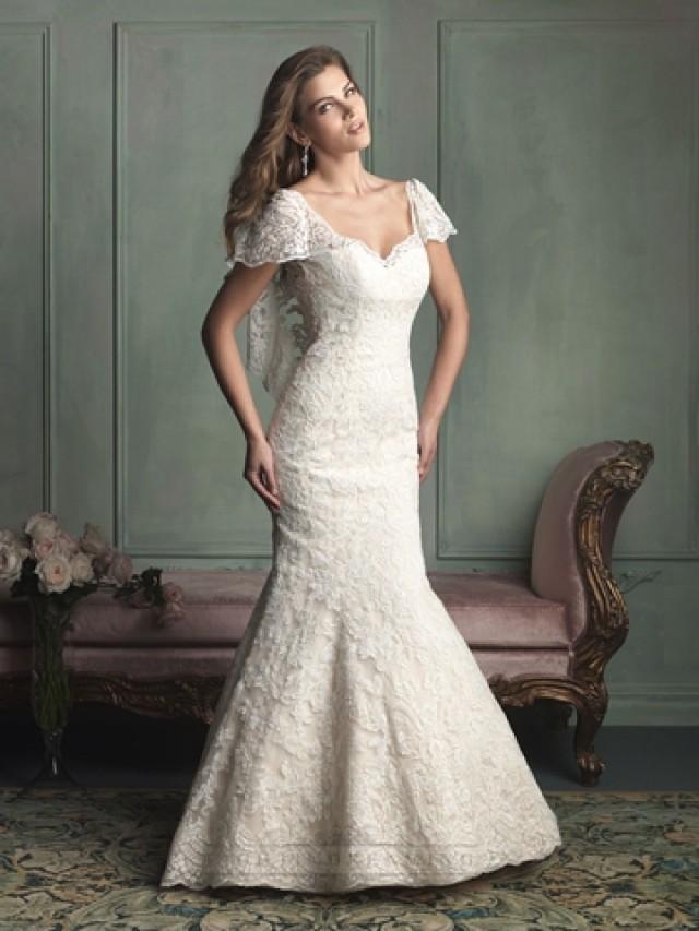 Unique short butterfly sleeves mermaid wedding dress with for Butterfly back wedding dress