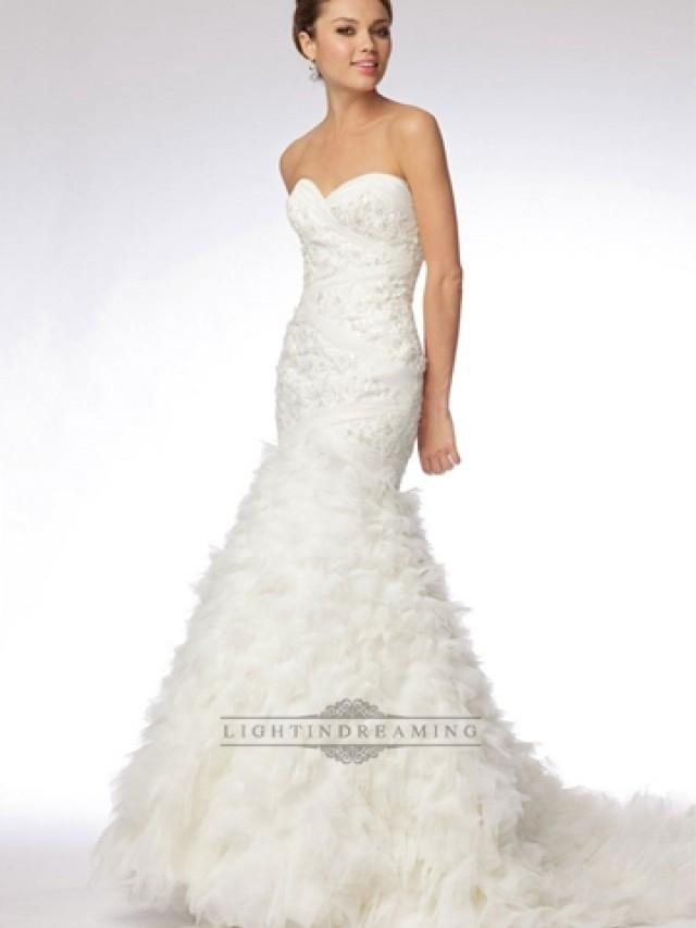 Taffeta Strapless Trumpet Wedding Dresses With Beaded Lace : Trumpet strapless sweetheart embroidered lace and tulle