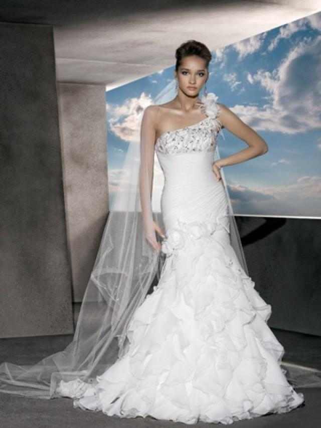 One shoulder satin organza beaded wedding dress with for Tiered ruffle wedding dress