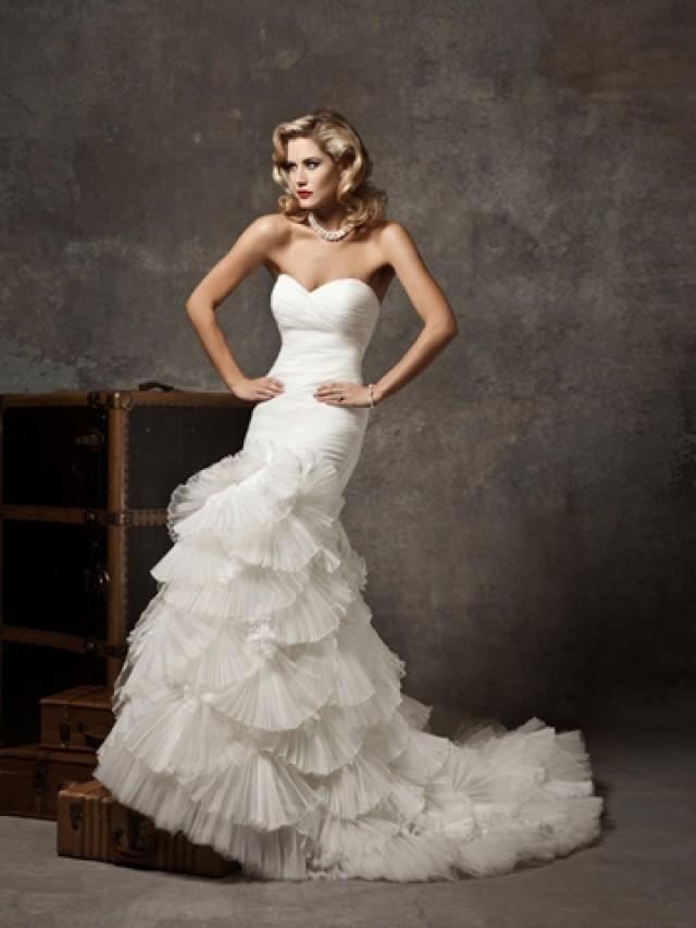 Pleated mermaid wedding dress with organza fan skirt and for Sweetheart neckline wedding dress