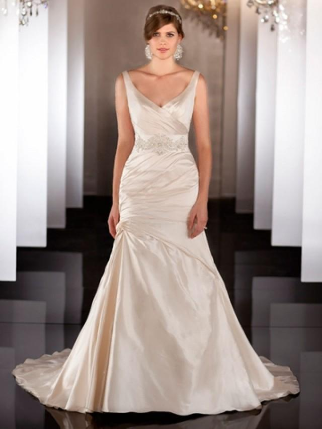 wedding photo - Straps V-neckline Ruched Wedding Dress with Dropped Waist and Plunging Backline