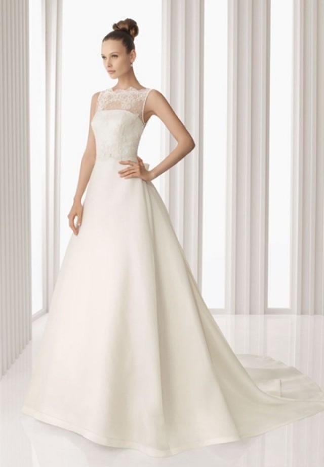 wedding photo - Chiffon and Lace Jewel A-line Elegant Wedding Dress
