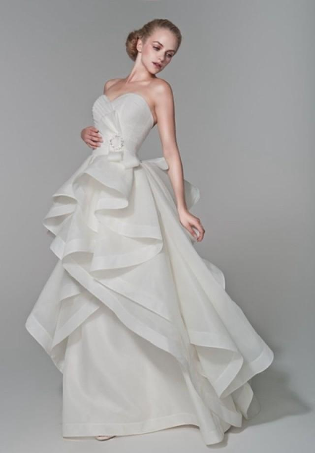 wedding photo - Pleated Organza Strapless Sweetheart A-Line 2 in 1 Wedding Dress