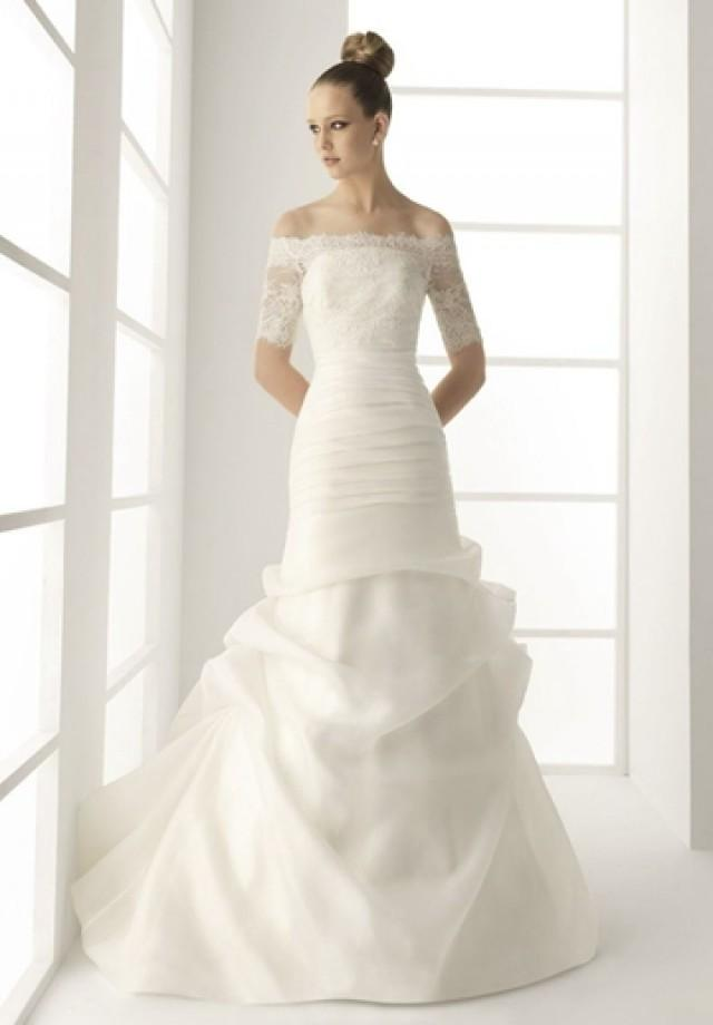 Ruffles Off The Shoulder A Line Organza Elegant Wedding Dress With Lace Sleev
