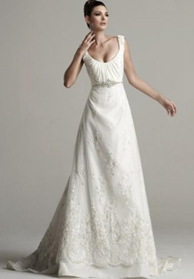 wedding photo - Satin Scoop Empire A-line Sexy Wedding Dress