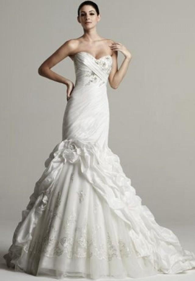 wedding photo - Taffeta Strapless Sweetheart Mermaid Elegant Wedding Dress with Tulle Skirt and Ruffled Train