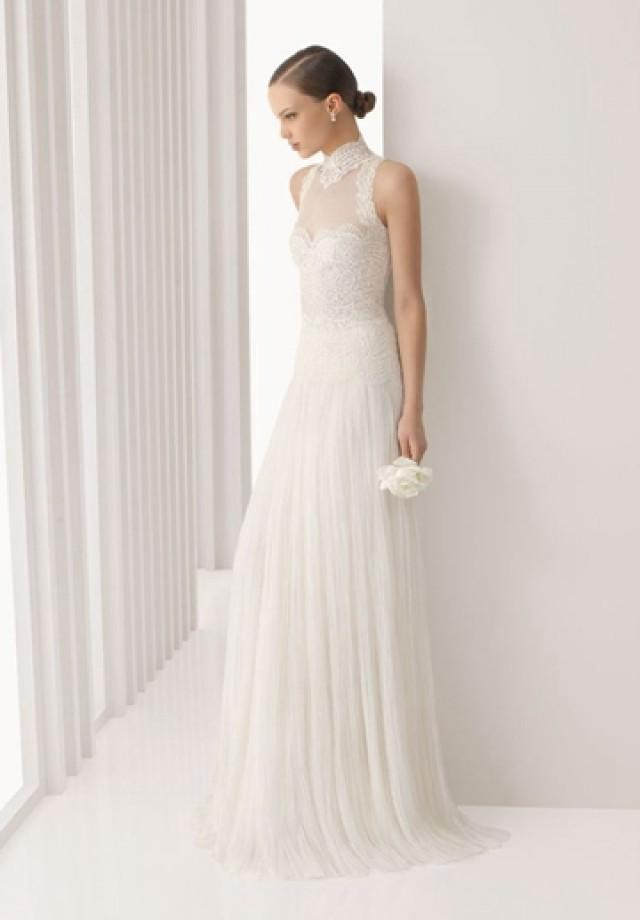 wedding photo - Tulle and Lace High Collar A-line Floor Length Elegant Wedding Dress