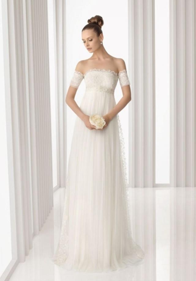 wedding photo - Tulle and Lace Off-the-Shoulder Column Elegant Wedding Dress