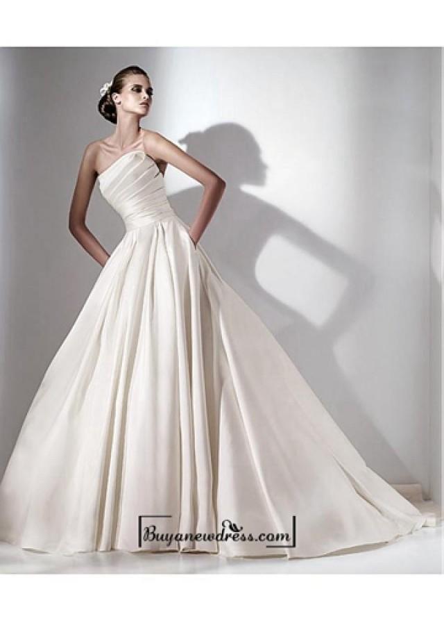 wedding photo - Beautiful A-line Satin Natural Waistline Strapless Wedding Dress