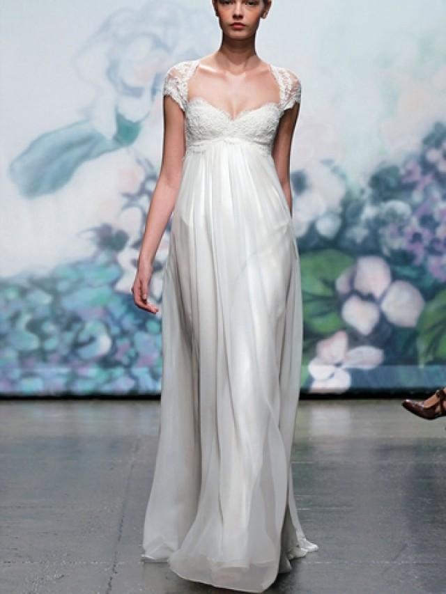 wedding photo - Elegant Embroidered Lace Cap Sleeve Fall Wedding Dress with Keyhole Back