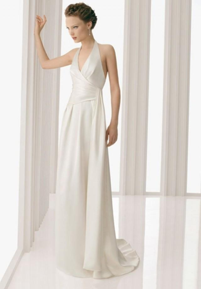 wedding photo - Satin Halter V-neck A-line Sexy Wedding Dress with Pleated Bodice