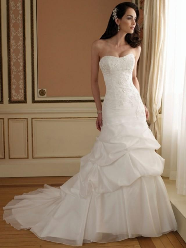 wedding photo - Curved Neck A-line Wedding Dress with Lace Bodice and Chapel Train Pick-up Skirt