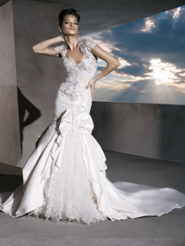 wedding photo - Perfect Fit and Flare Strapless Taffeta Wedding Dress with Bolero Jacket