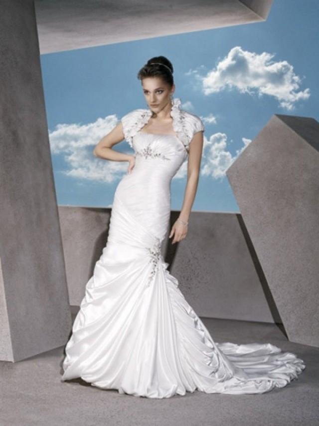 wedding photo - Satin Strapless Classic Trumpet Empire Wedding Dress with Jacket