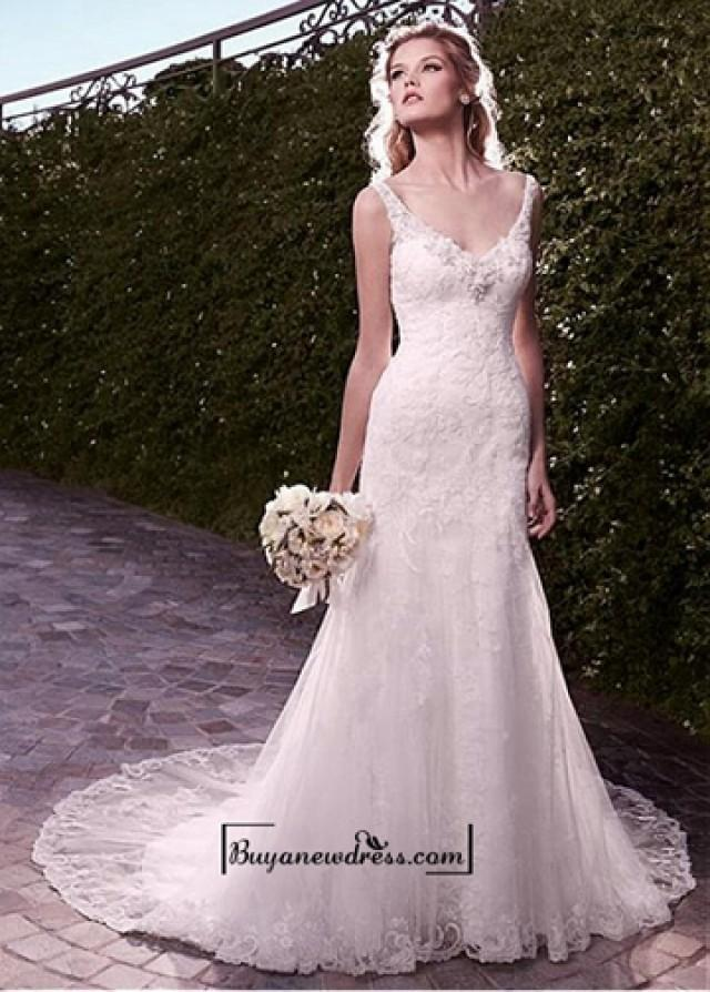 wedding photo - Amazing Tulle & Satin Mermaid V-neck Neckline Wedding Dress With Appliques and Beadings