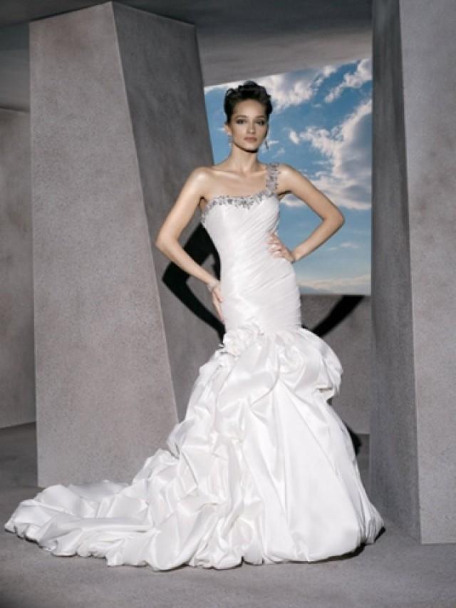 wedding photo - Classic Taffeta One-shoulder Wedding Dress Embellished with Crystal Beading
