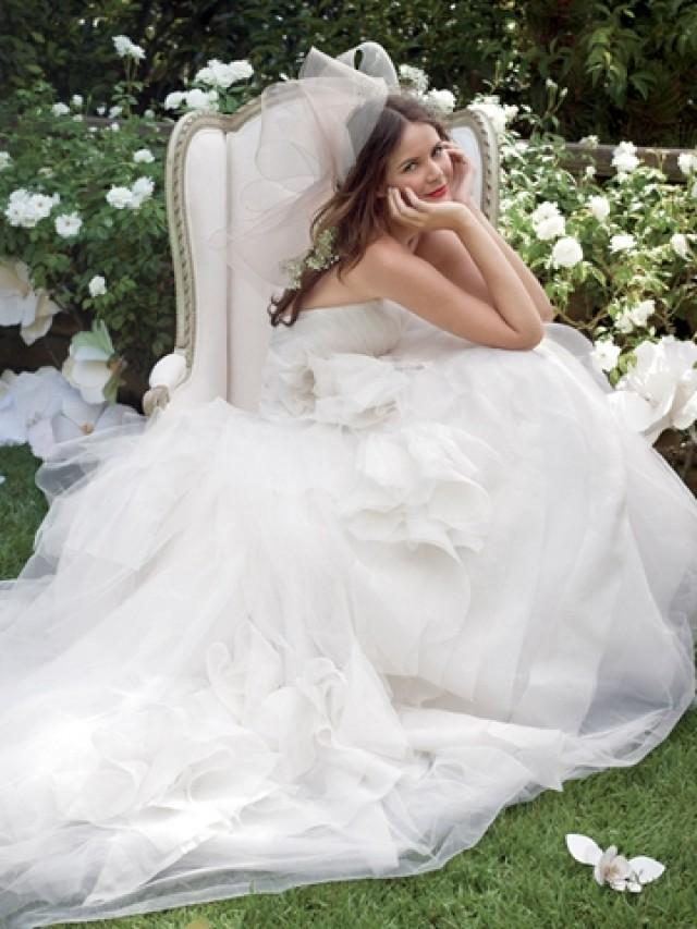 wedding photo - Dropped Waist Strapless Ball Gown Wedding Dress with Layered Skirt and Draped Bodice