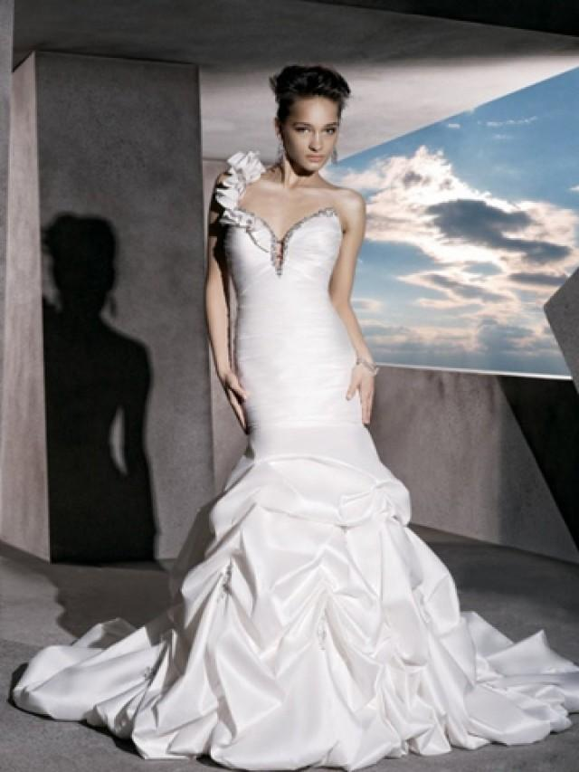 wedding photo - Ruched Taffeta Perfect Sweetheart Wedding Dress with One Shoulder Strap