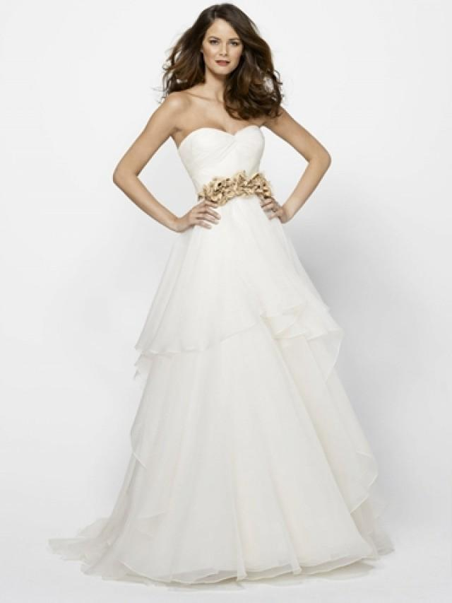 wedding photo - Fairy Organza Strapless Wedding Dress with Draped Sweetheart Neck and Soft Layered Skirt
