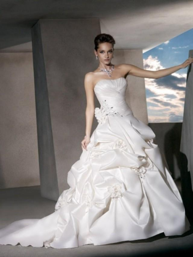 wedding photo - Crystal Beading and Flowers - Taffeta Strapless Ball Gown Wedding Dress