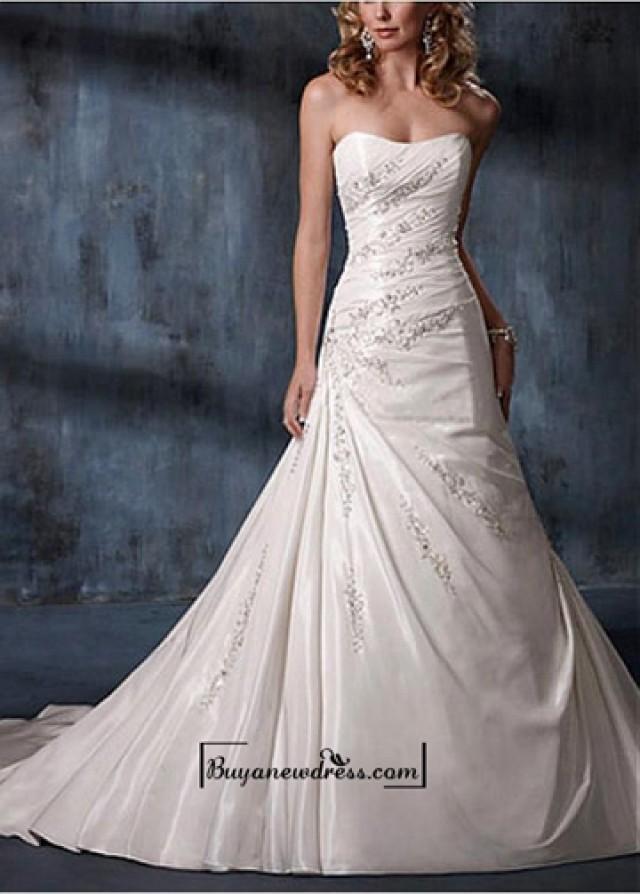 wedding photo - A Stunning Taffeta Dropped Neckline A-line Wedding dress