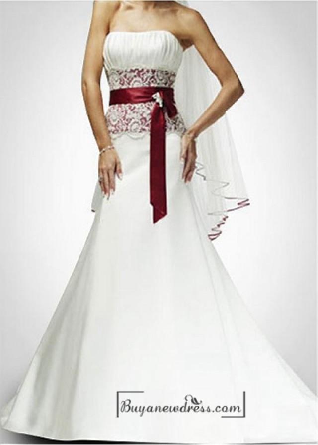 wedding photo - Beautiful Elegant Satin & Lace Mermaid/trumpet Strapless Wedding Dress In Great Handwork