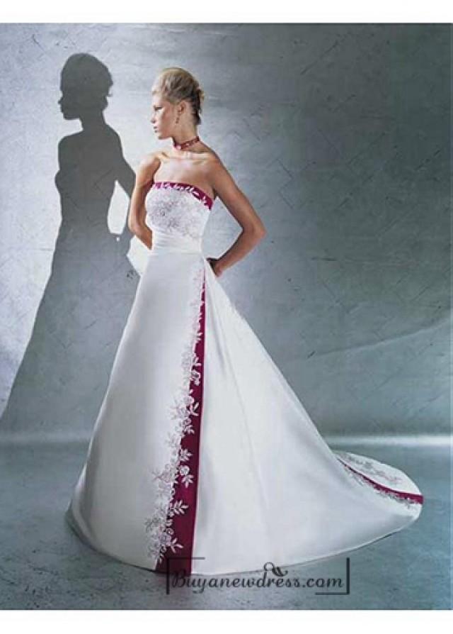 wedding photo - Beautiful Elegant Satin A-line Strapless Wedding Dress In Great Handwork