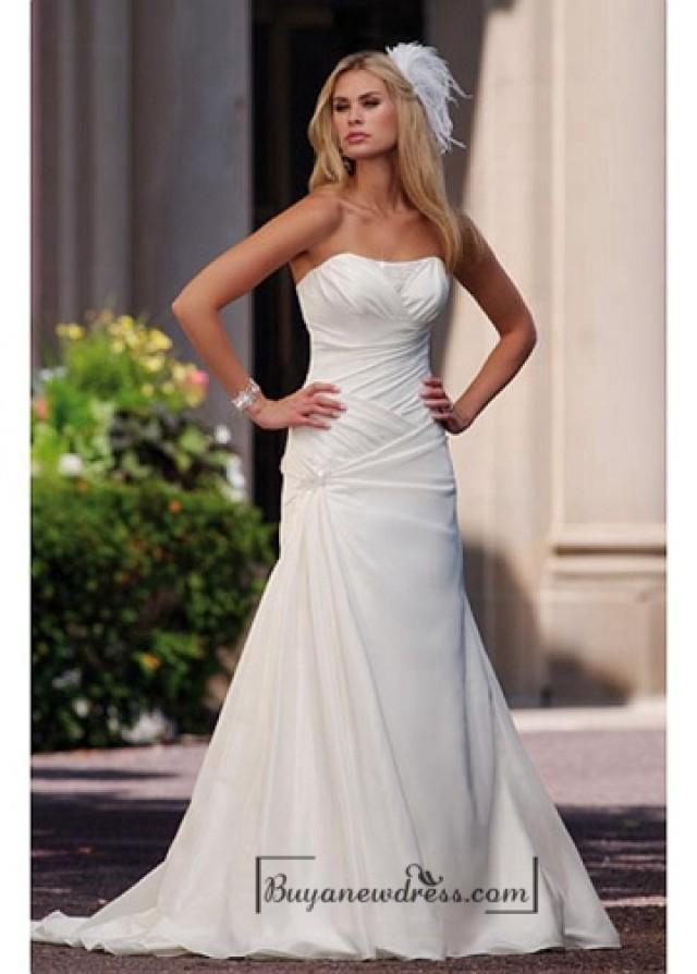 wedding photo - Beautiful Elegant Taffeta & Satin A-line Strapless Wedding Dress In Great Handwork