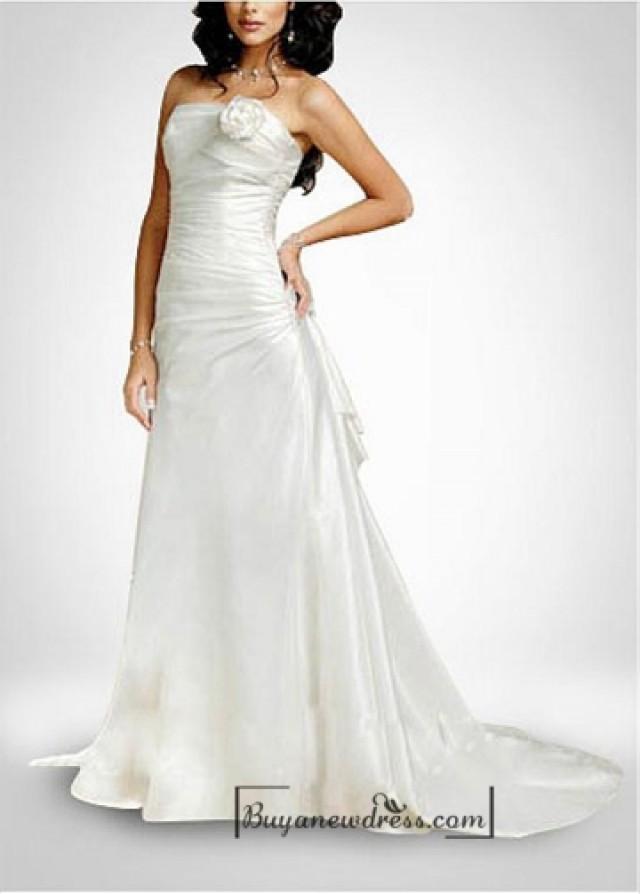 wedding photo - Beautiful Taffeta A-line Sleeveless Wedding Dress In Great Handwork