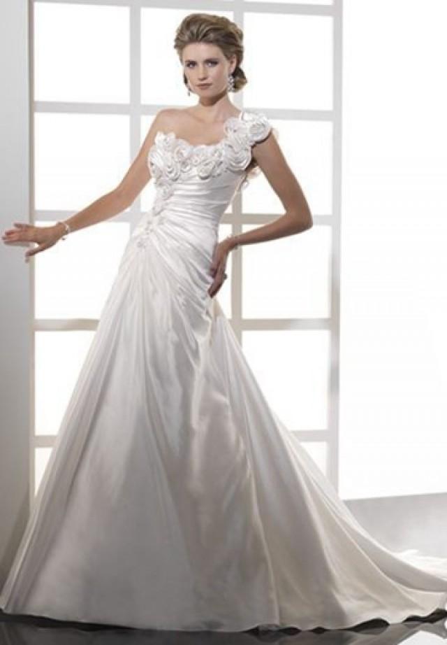 wedding photo - Floral Satin One-Shoulder A-line Elegant Wedding Dress