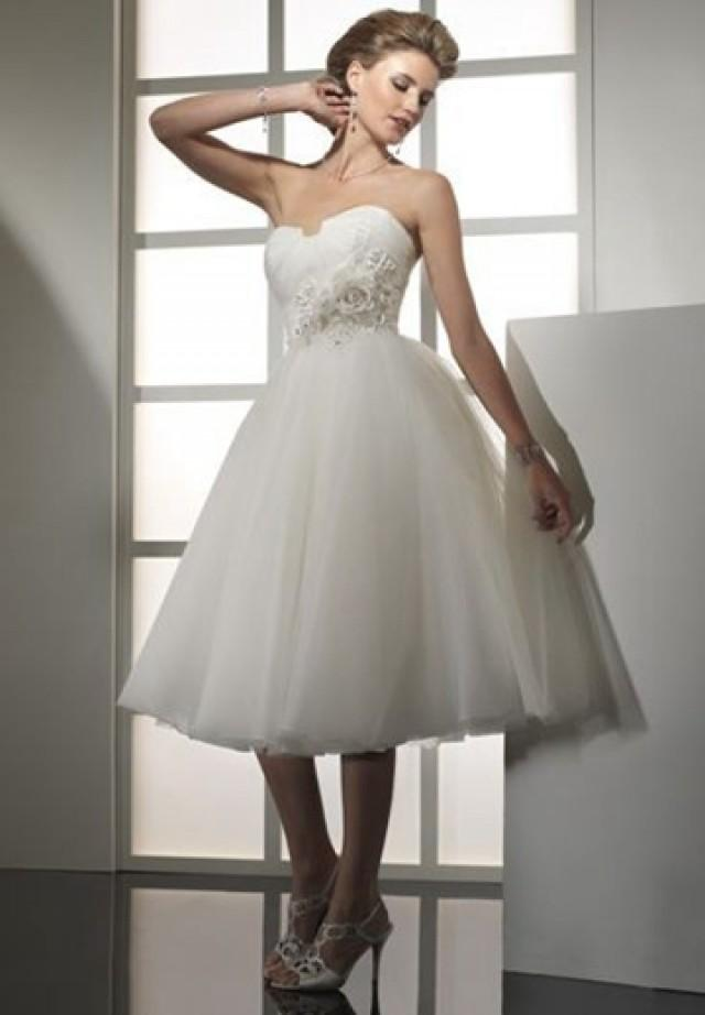 wedding photo - Organza and Tulle Strapless Empire Ball Gown Simple Wedding Dress