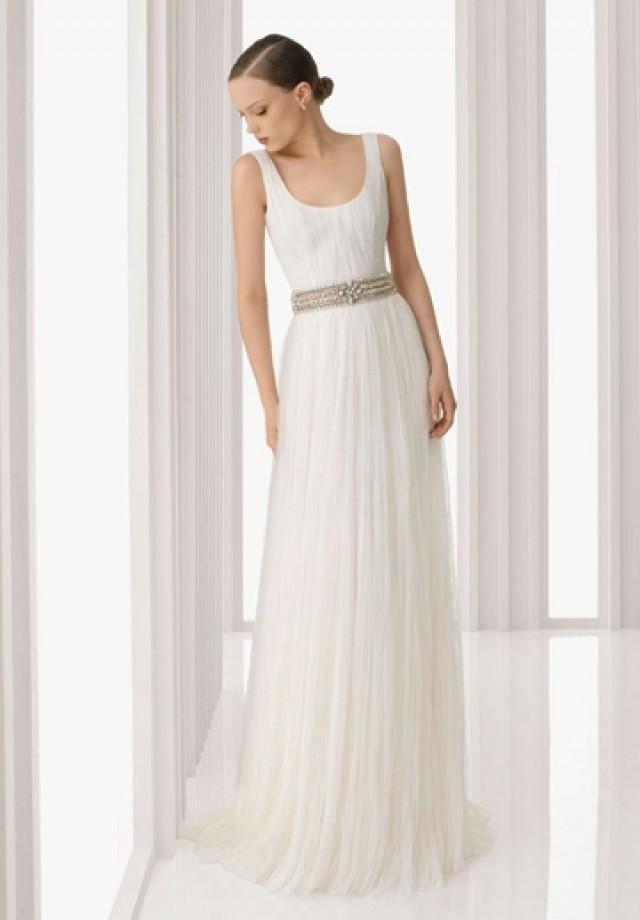 wedding photo - Organza Scoop Column Elegant Wedding Dress with Beaded Waistband