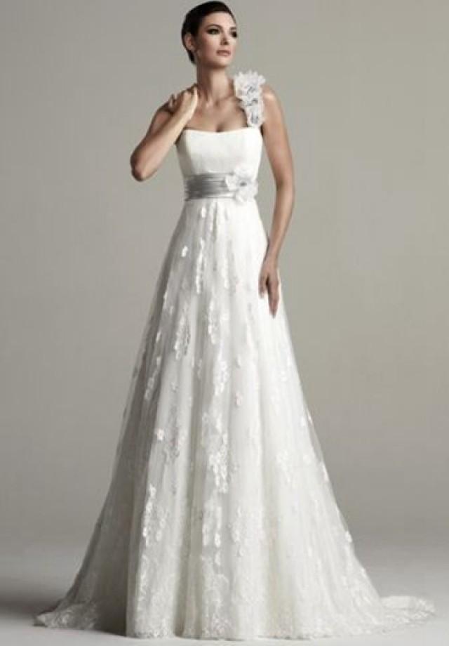 wedding photo - Tulle One-Shoulder Empire A-line Elegant Wedding Dress