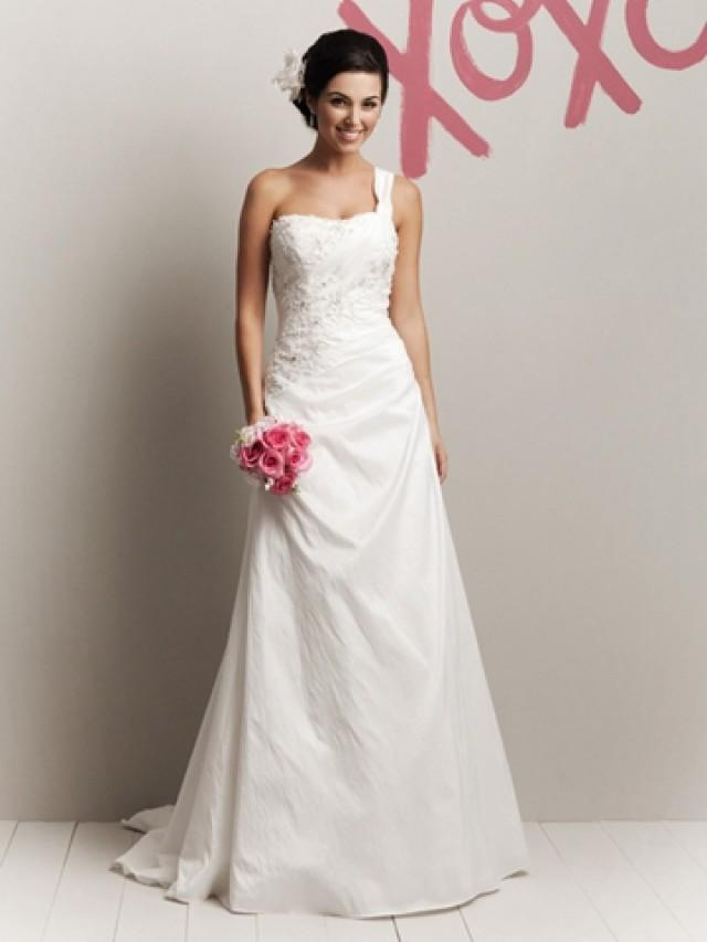 wedding photo - Crinkle Taffeta One Shoulder Glamorous Spring A-line Wedding Dress Sweep Train