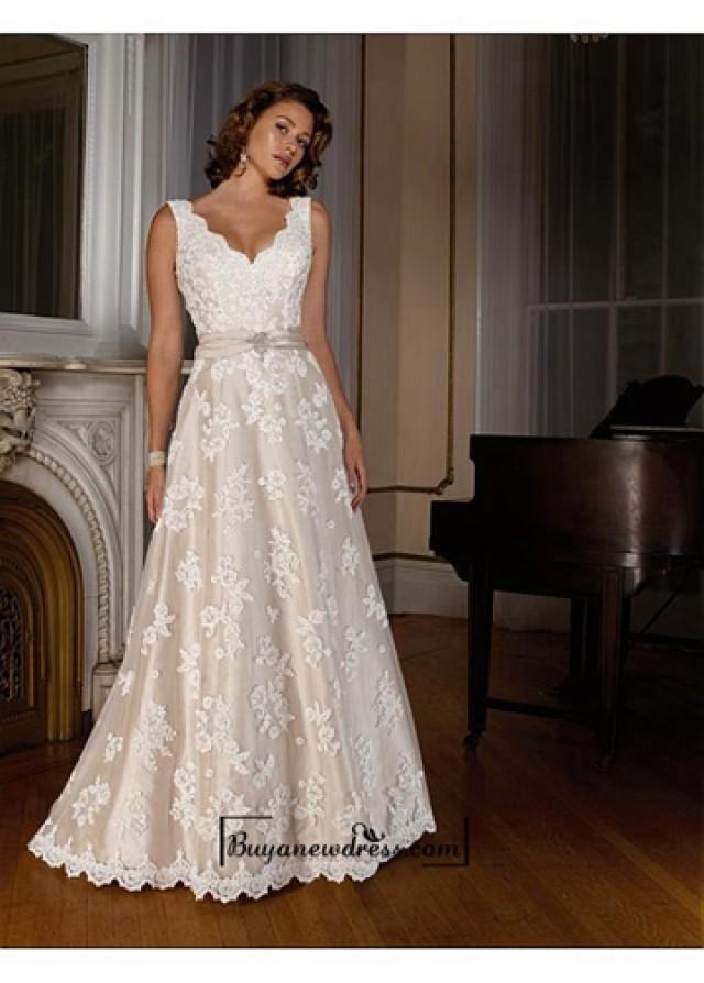 wedding photo - Beautiful Elegant Exquisite A-line V-neck Wedding Dress In Great Handwork