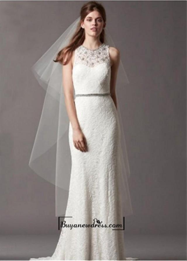 wedding photo - Alluring Satin&Lace Sheath Illusion High Neckline Natural Waistline Wedding Dress