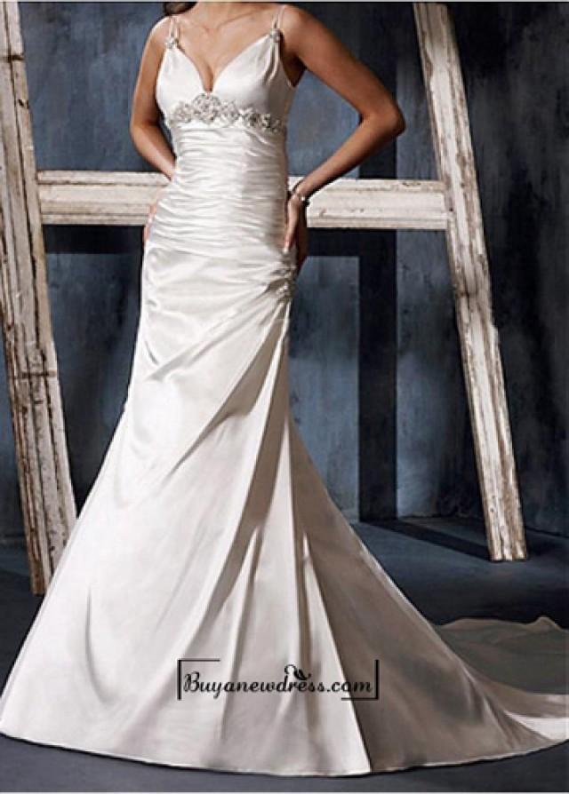 wedding photo - A Charming Stretch Satin Beaded Wedding Dress