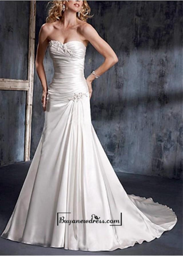wedding photo - A Stunning Strapless Slight Sweetheart Wedding Dress