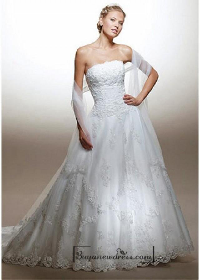 wedding photo - Beautiful Elegant Tulle A-line Strapless Wedding Dress In Great Handwork