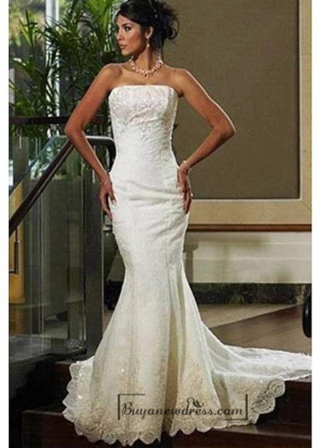 wedding photo - Beautiful Elegant Tulle Mermaid/trumpet Strapless Wedding Dress In Great Handwork