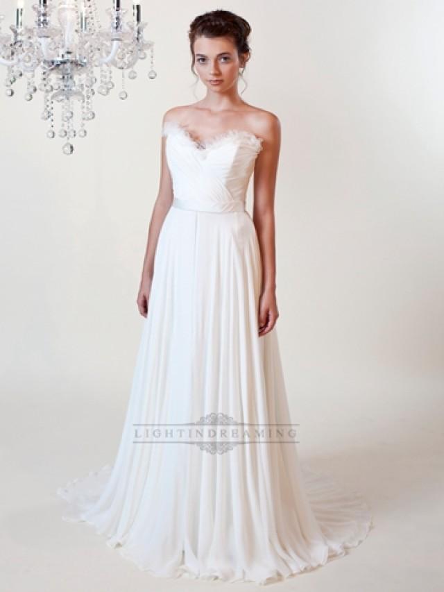 wedding photo - Sheath Ruffled Sweetheart Wedding Dress with Draped Skirt