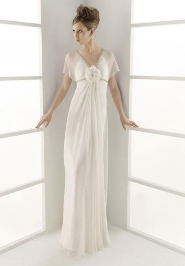 wedding photo - Chiffon V-neck Column Elegant Wedding Dress with Hand Made Flower