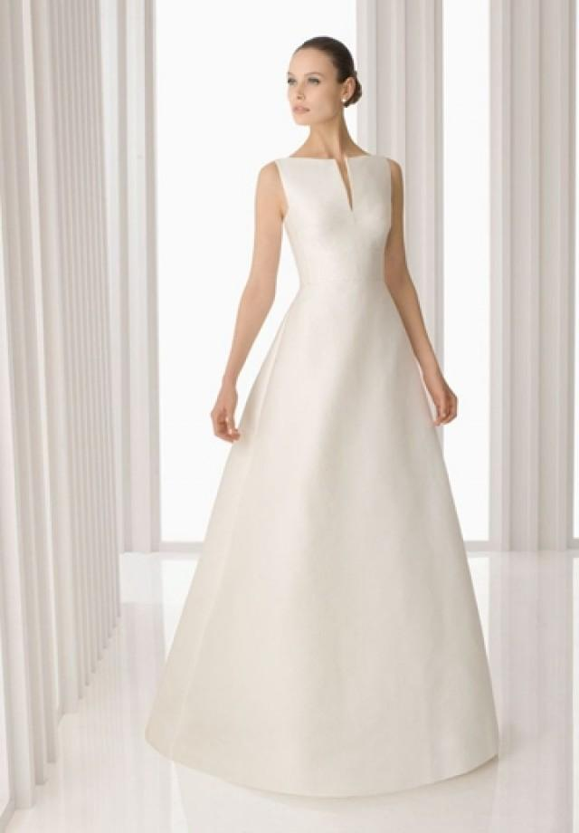 wedding photo - Satin Bateau A-line Simple Wedding Dress with Bow on Back