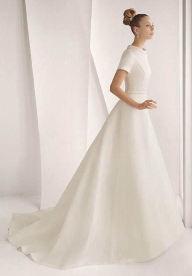 wedding photo - Satin Jewel A-line Elegant Wedding Dress