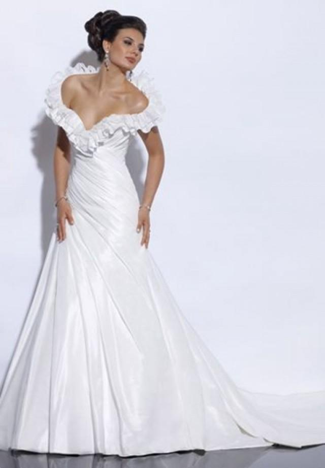 wedding photo - Taffeta Off-the-Shoulder Sweetheart A-line Sexy Wedding Dress with Ruffled Neckline