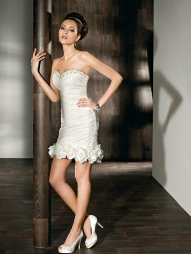 wedding photo - Satin Fit and Flare Long to Short Wedding Dress with Beaded Sweetheart Neck and Tiered Skirt